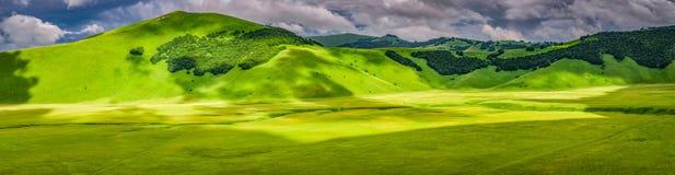 Panorama of mountains in Castelluccio, Umbria, Italy Stock Image