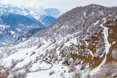 Panorama of the mountains Caucasus in Snow Valley Royalty Free Stock Photo