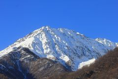 Panorama of mountains in a clear day in winter. A panorama of mountains in a clear day in winter royalty free stock image
