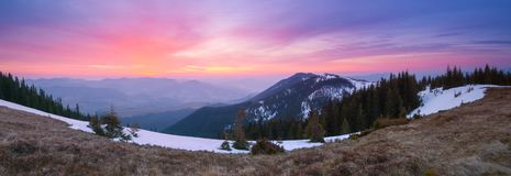 Panorama of the mountains with the dawn stock photo