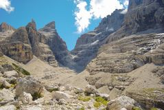 Panorama on mountains of the Dolomites side Trentino Alto Adige. Suggestive view of Natural Park of Brenta group stock photography