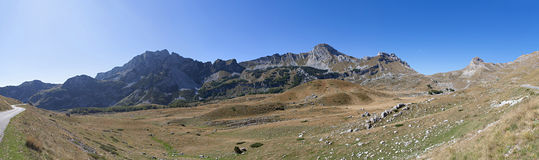 Panorama from mountains in Durmitor national Park. Montenegro Stock Images