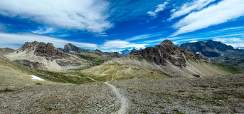 Panorama of mountains with footpath Royalty Free Stock Photo