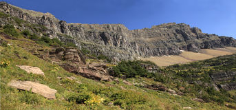 Panorama of Mountains in Glacier National Park Royalty Free Stock Photo