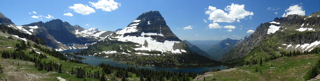 Panorama of mountains at hidden lake Royalty Free Stock Image