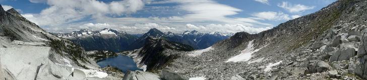 Panorama of mountains at hidden lake Stock Photography