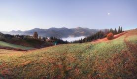 Panorama of mountains hills at sunrise. Carpathian mountains, Ukraine royalty free stock photo