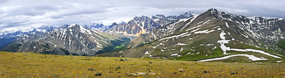 Panorama of Mountains in Jasper National Park Stock Photography