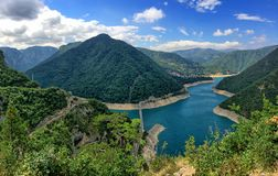 Panorama of mountains and Lake Piva in Pluzine, Montenegro royalty free stock photo