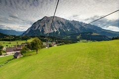Panorama of the mountains. Large panorama of the mountains with some houses Royalty Free Stock Images