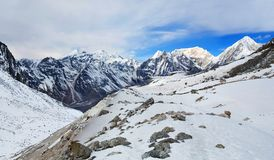 Panorama of Mountains in Manaslu Area Stock Photo