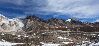 Panorama of Mountains in Manaslu Area Royalty Free Stock Image