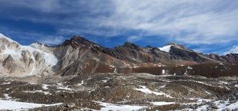 Panorama of Mountains in Manaslu Area Royalty Free Stock Image