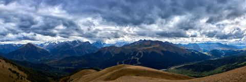 Panorama of the mountains of the North Caucasus under a stormy sky. Arkhyz. stock photography