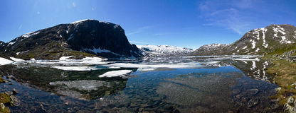 Panorama of mountains in Norway. Panorama of mountains wirt snow in Norway Royalty Free Stock Photos