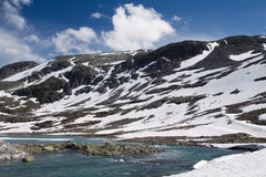 Panorama of mountains in Norway. Panorama of mountains wirt snow in Norway Royalty Free Stock Photography