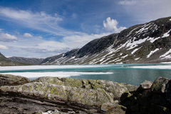 Panorama of mountains in Norway. Panorama of mountains wirt snow in Norway Stock Photo