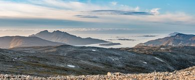 Panorama mountains and ocean landscape  - north Norway Royalty Free Stock Photo