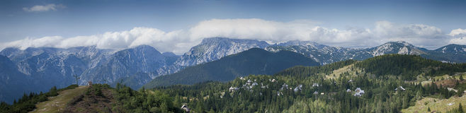 Panorama of mountains. Panorama picture of Velika Planina at the Julian Alps in Slovenia royalty free stock photo