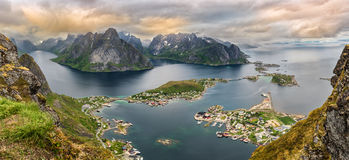 Panorama of  mountains and  Reine in Lofoten islands, Norway Royalty Free Stock Photography