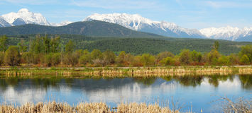 Panorama of mountains and river Royalty Free Stock Photography