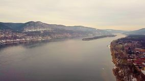Panorama of mountains and rivers. With a drone stock video