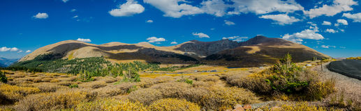Panorama of Mountains and Road in Colorado Royalty Free Stock Photo