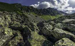 Panorama of mountains with rocks. In the foreground, Tatra Mountains in Poland Stock Image