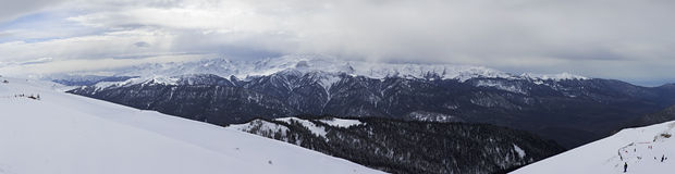 Panorama of mountains in Rosa Khutor Alpine Resort Stock Photos