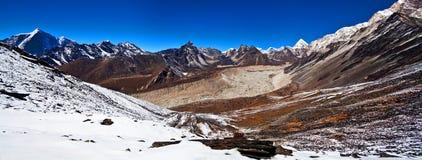 Panorama of Mountains in Sagarmatha National Park. View from Chukkung Ri hill (5555 meters) in the Nepal Himalaya Stock Photo