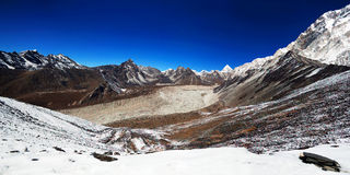 Panorama of Mountains in Sagarmatha National Park Stock Photography