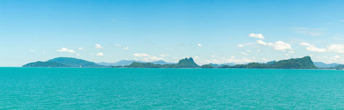 Panorama mountains, sea and sky Royalty Free Stock Image