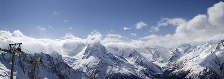 Panorama Mountains. Ski resort. Stock Photography