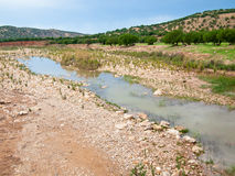 Panorama of the mountains with a stream. On the sky background Royalty Free Stock Images
