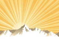 Panorama of mountains with sunburst Stock Photography
