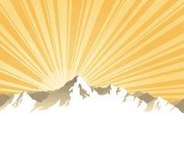 Panorama of mountains with sunburst royalty free illustration