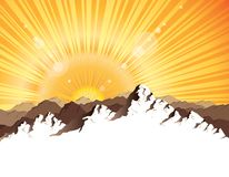 Panorama of mountains with sunburst Stock Image