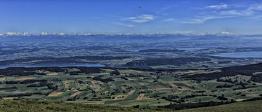 Panorama of mountains and valleys Royalty Free Stock Photo