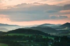 Sunset in Cesky Krumlov royalty free stock photography