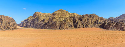 Panorama of Mountains of Wadi Rum desert Stock Photo