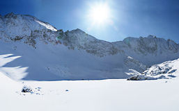 Panorama of mountains in winter. Stock Photography