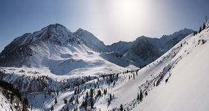 Panorama of mountains in winter. Royalty Free Stock Photos