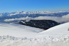 The panorama of the mountains in winter. Royalty Free Stock Photo