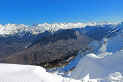 The panorama of the mountains in winter. Royalty Free Stock Photography