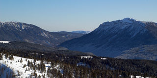 Panorama of mountains in winter royalty free stock photo
