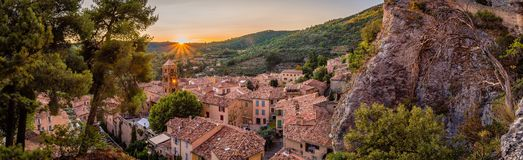 Panorama in Moustiers Sainte Marie. Panorama at sunset in the lovely village of Moustiers Sainte Marie in France Stock Photos