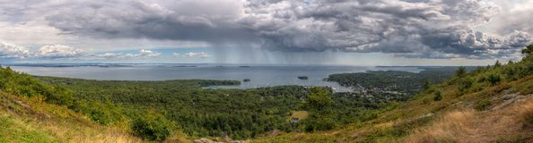 Panorama From Mt Battie in Camden Maine. Passing storm Stock Photo