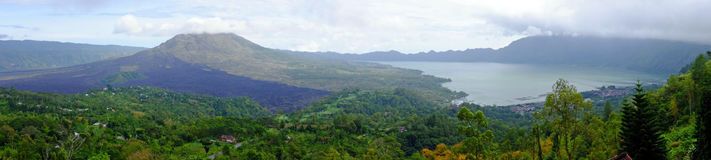 Panorama from Mt. Batu and lake Batu in Bali Indonesia Royalty Free Stock Photography