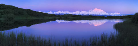 Panorama Mt Mckinley with reflection. Reflection of Mt Mckinley at sunrise Stock Photos