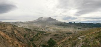 Panorama of Mt St Helens. Panorama showing Mt St Helens and lingering devastation royalty free stock photo